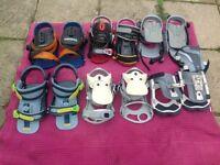 6 pairs of snowboard bindings.