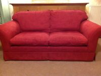 Large 2 Seater Sofa in Raspberry Damask Fabric