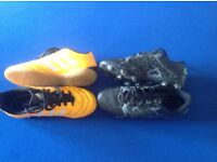 2 pairs boys football boots size 1, indoor and plastic blades