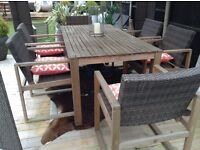 Rattan and wooden garden patio table and 6 chairs excellent condition £275 Ono