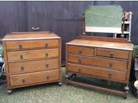 Matching oak bedroom set dressing table chest of drawers