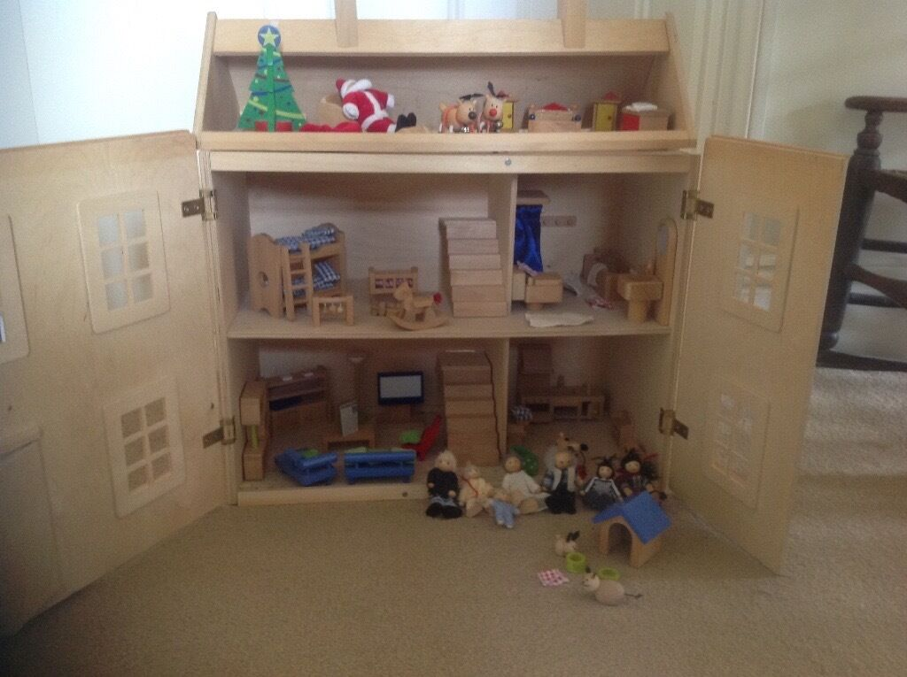 Wooden early learning centre dolls house, furniture and figures ...