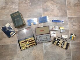 Professional technical drawing instruments and a book