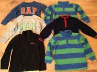 Boy fleece cardigan and jumper x6 items age 3-4 year old included M&S, Gap and Regatta.