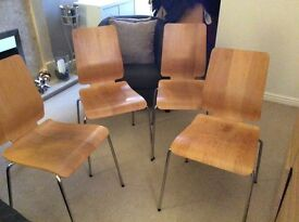 Set of four Ikea Oak Dining Chairs