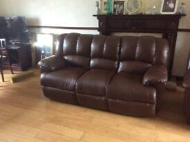 Burgundy leather 3&1 suite. Armchair reclines