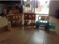 Sylvanian families selection: school, house and campervan, complete with multiple characters