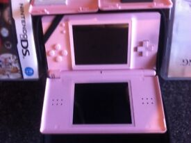 Nintendo DS console and case