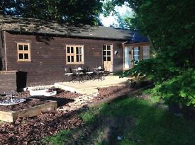 Beautiful log style lodge, sleeps two, complete with everything you need.