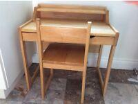 Children's wooden desk and chair