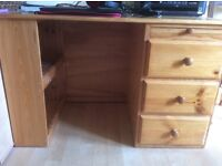 3 drawer pine desk