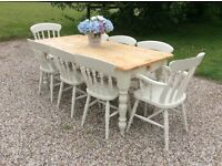 Shabby Chic Large Solid Pine Farmhouse Dining Table with 8 Chairs Painted in Farrow and Ball