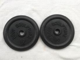 2 x 10lb (4.5kg) Bodysculpture Standard Cast Iron Weights