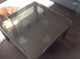 Grey shabby chic glass topped coffee table