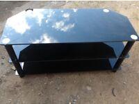 Big Black glass tv stand