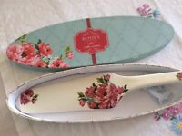 Rosie's Pantry China Cake Server in original box. Unused.