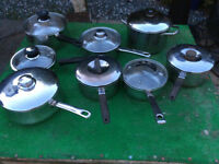 SELECTION OF POTS AND PANS, ALL WITH LIDS