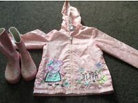 Girls peppa pig jacket aged 5 to 6 and peppa pig wellies and crocs size 10