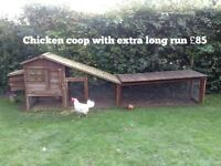 Chicken coop with extra long covered run