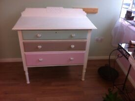Lovely pastel colors chest of drawers, suitable in any rooms.