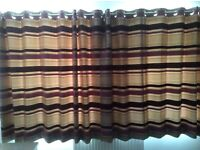 Plum and gold stripe curtains