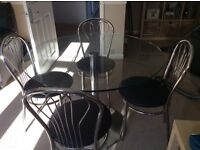 Dining Glass Table & Four Chairs