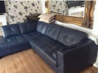 Dark blue leather corner sofa
