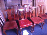 Set of 6 dining chairs...2 carvers...4 chairs...claw and ball feet