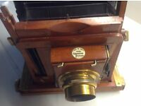 "Antique over 110 years old Field Camera ""Time & Inst"" by THORTON PICKARD AND an antique tripod"