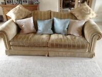 LARGE 4 SEATER SOFA, PALE GOLD STRIPE FABRIC, IMMACULATE CONDITION.