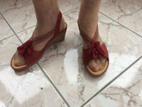 1 Pair red wedge sandals size 6 (39)