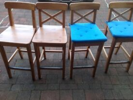 Bargain **** 4 wooden bar stools with cushions