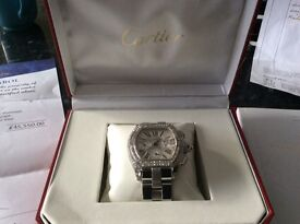Diamond Cartier men's roadster watch amazing piece,Xmas gift treat yourself,may px