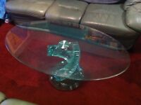 Glass Coffee Table - Oval with spiralling central pedestal. Very nice piece of furniture