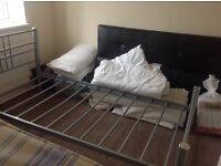 Roma chrome metal single bed with Mattress
