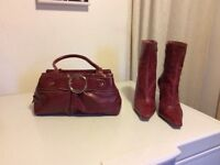Mahogany ladies leather bag and Matching boots from Wallaces excellent condition only used once
