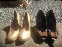 Sexy high heels / golden sparkle & leopard peep-toe / size 4