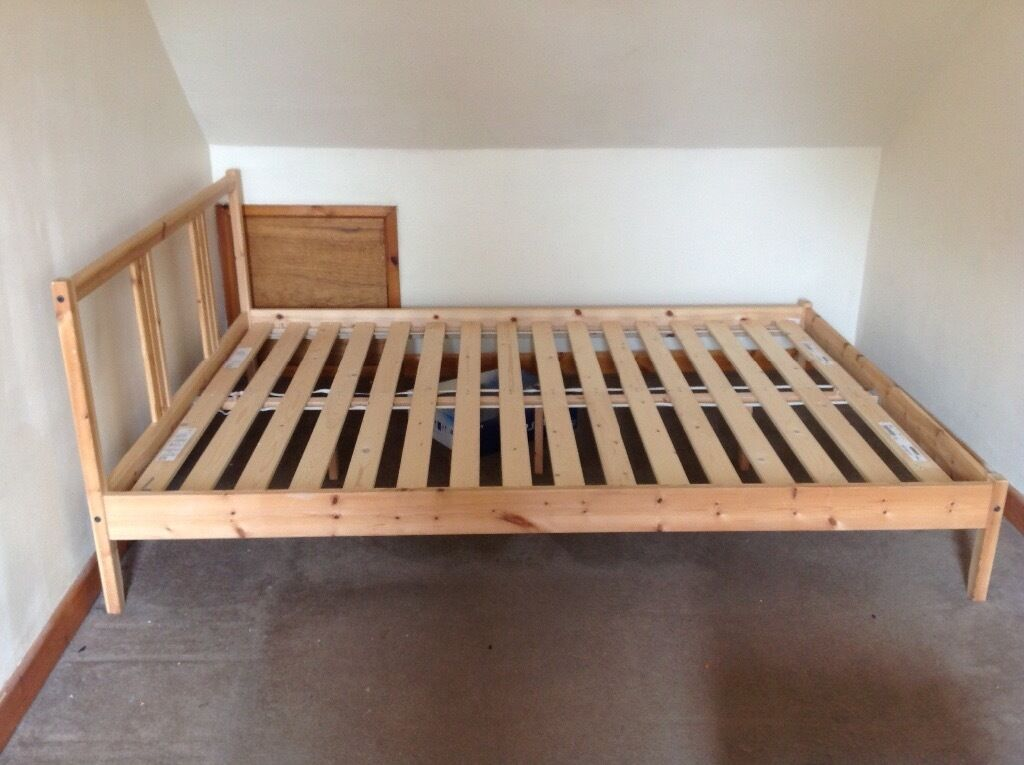 ikea wooden double bed frame in sutton coldfield west. Black Bedroom Furniture Sets. Home Design Ideas