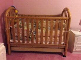 Baby's pine cot,mattress and bedding