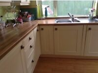 Kitchen cupboard doors, draw fronts plinths architrave shelving, sink and 5 burner gas hob. Used