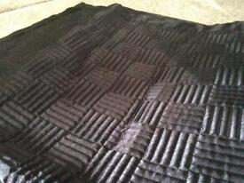 Quilted black satin throw / quilt