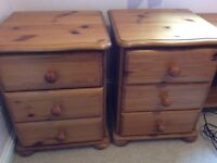 2 X Pine Bedside Chest of Drawers