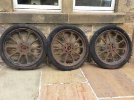 3 Old Pre-War Wheels possibly Austin or Morris