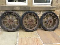 3 Old Pre-War Wheels possibly Austin or Morris