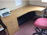 Right handed crescent desk and 3 drawer cabinet