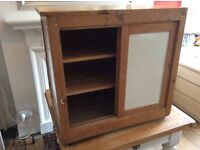 Original art class cabinet with sliding doors and wooden slatted shelving
