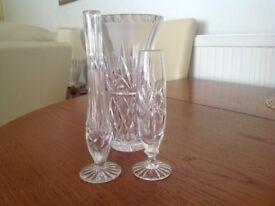 3 various crystal vases