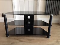 Black Smoked Glass Corner TV Stand