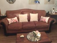Tan brown leather three piece suite, sofa + two armchairs solid wood frame and trim