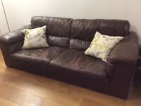Natural leather 3 seater sofa, armchair & storage footstool for sale